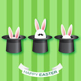 Origami Green Greeting card with Happy Easter - with white Easter rabbit with black mustache. Stock Photos