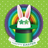Origami Green Greeting card with Happy Easter - with White Easter rabbit - green sunglasses. Stock Images