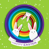 Origami Green Greeting card with Happy Easter - with White Easter rabbit with rainbow and ribbon. Royalty Free Stock Photography