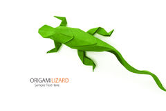 Origami green lizard. Origami paper art  green wild lizard on a white background Stock Photos