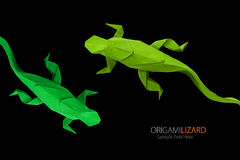 Origami green lizards Royalty Free Stock Photos