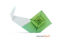 Origami green snail Royalty Free Stock Photo