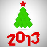 Origami green vector christmas tree. Green tree with red stripe 2013 numerals christmas card Royalty Free Stock Image