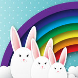 Origami Greeting card with Happy Easter - with white Easter rabbit and rainbow. Royalty Free Stock Photo
