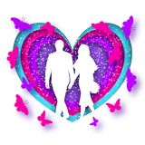 Origami greeting card for Valentine`s day. Newlyweds holding hands, against the backdrop of hearts and flying butterflies. Purple and pink colors. confetti royalty free illustration