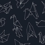 Origami hand drawn doodle seamless pattern. Vector illustration of figures from paper Stock Image