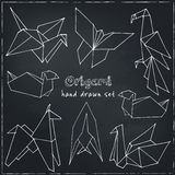 Origami hand drawn doodle set. Vector illustration of   figures from paper Stock Photo