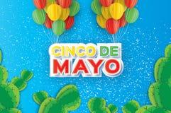Origami Happy Cinco de Mayo Greeting card. Paper cut Ballon. Cactus. Mexico, Carnival. Happy Cinco de Mayo Greeting card. Paper cut bunch of Ballon. Cactus Stock Images