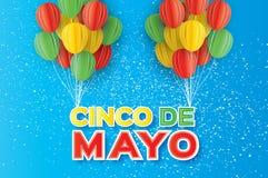 Origami Happy Cinco de Mayo Greeting card. Paper cut Ballon. Mexico, Carnival. Happy Cinco de Mayo Greeting card. Paper cut Ballon. Mexico, Carnival. Text Royalty Free Stock Photo