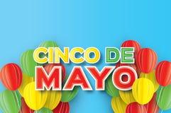 Origami Happy Cinco de Mayo Greeting card. Paper cut Ballon. Mexico, Carnival. Happy Cinco de Mayo Greeting card. Paper cut Ballon. Mexico, Carnival. Text Royalty Free Stock Photography