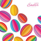 Origami Happy Easter Greating card. Colorful Paper cut Easter Egg. White background. Royalty Free Stock Photography