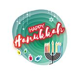 Origami Happy Hanukkah. Greeting card for the Jewish holiday. Menorah traditional candelabra and burning candles Royalty Free Stock Image