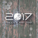2017 Origami Happy New Year Ball. Greeting card or background Stock Illustration