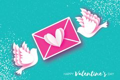 Origami Happy Valentine`s day greeting card. Flying Love Birds, Mail Love and envelope in paper cut style. Romantic. White pigeons kissing. Be my valentine. 14 Stock Photo