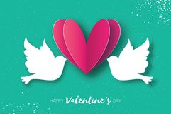 Origami Happy Valentine`s day greeting card. Flying Love Birds in paper cut style. A couple of doves in loving. Romantic Stock Photography