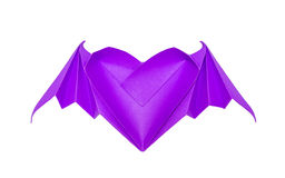 Origami heart with bat wings Royalty Free Stock Photos