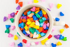 Origami heart in cup Stock Images
