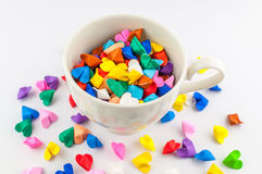 Origami heart in cup Stock Photography