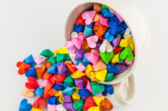 Origami heart in cup Royalty Free Stock Image