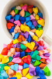 Origami heart in cup Stock Image