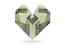 Origami heart of dollars banknotes. On a white background Royalty Free Stock Photos