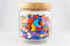 Origami heart in jar. On white background Royalty Free Stock Images