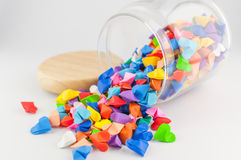 Origami heart in jar Royalty Free Stock Images