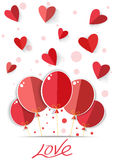 Origami heart in red background. Vector EPS 10. Royalty Free Stock Images