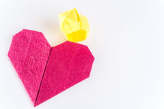 Origami heart and ring  mulberry paper. In isolated Stock Photography