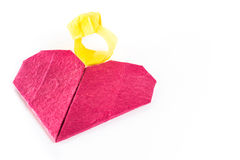 Origami heart and ring  mulberry paper. In isolated Royalty Free Stock Images