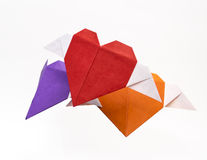 Origami heart shape with wings Royalty Free Stock Image