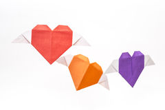 Origami heart shape with wings Royalty Free Stock Photos