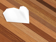 Origami heart on wooden background.  + EPS8. Origami heart on wooden background with copy-space.  + EPS8 vector file Royalty Free Illustration