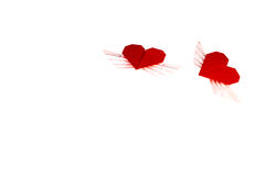 Origami-Herz mit Flügeln Zwei Innere Stockfoto