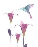 Origami  hummingbird. Origami paper hummingbird flying around the flowers Stock Images