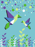 Origami hummingbird couple spring time Royalty Free Stock Image