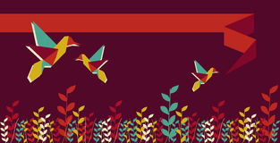 Origami hummingbird group banner Royalty Free Stock Photo
