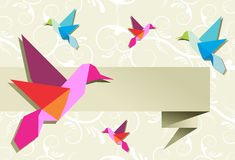 Origami hummingbird group with banner Royalty Free Stock Photo