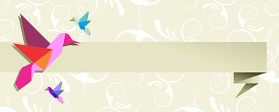 Origami hummingbird group banner floral design Royalty Free Stock Image