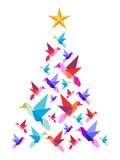 Origami hummingbirds Christmas tree. Stock Images