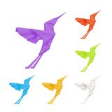 Origami hummingbirds, set Royalty Free Stock Photography