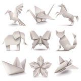 Origami ikon wektoru set Obrazy Stock