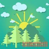 origami Illustration av skoglandskapet Fotografering för Bildbyråer