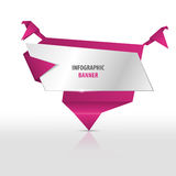 Origami infographic banner with birds. Vector template. Stock Photos