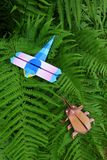 Origami insects - dragon fly & beetle Stock Photos