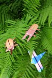 Origami insects on fern leaves Stock Image