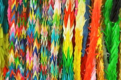 Origami in Japan. Folded paper cranes in Hiroshima, Japan Royalty Free Stock Photo