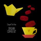 Origami kawa set Obrazy Royalty Free