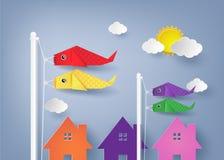 Origami koi nobori Stock Photography