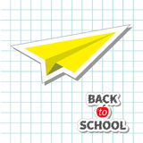Origami koloru żółtego papieru samolotu doodle Handdrawn papier royalty ilustracja